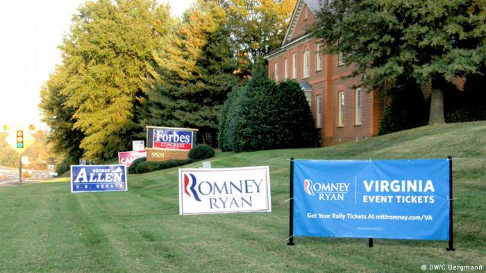 Romney Ryan Schild in Chesterfield, südlich von Richmond, Virginia Foto: DW/Christina Bergmann 3.11.2012, CB