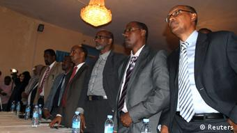 Newly appointed members of Somalia's cabinet in the capital Mogadishu November 4, 2012. REUTERS/Omar Faruk