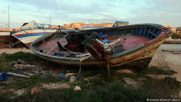 A symbolic Image of a wrecked fishing boat on Lampedusa