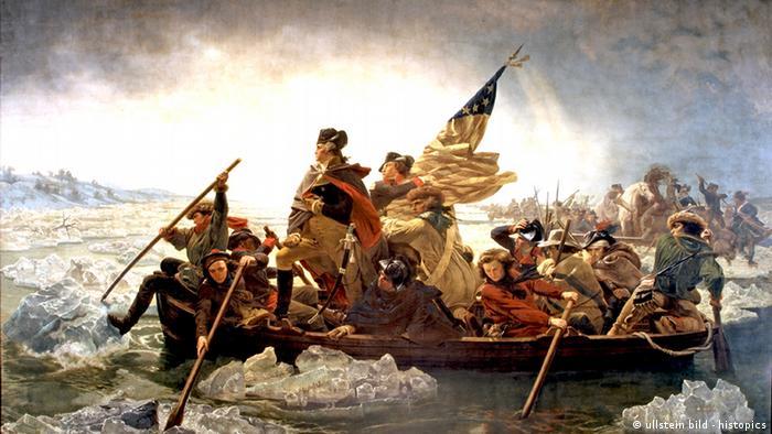 Gemälde George Washington überquert den Delaware River 1776 von Emanuel Leutze.