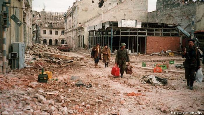 Die zerstörte kroatische Stadt Vukovar im Kroatien-Krieg 1991