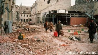 A destroyed street in the Croatian town of Vukovar