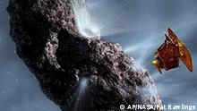 This rendering by artist Pat Rawlings, released by NASA, shows the Deep Impact spacecraft's projected encounter with comet Tempel 1. If all goes as planned, Deep Impact will release a wine barrel-sized probe on a suicide mission hurtling toward the Tempel 1, located some 80 million miles away from Earth at the time of impact. Scientists hope the July 4, 2005, collision will gouge a crater in the comet's surface large enough to reveal the pristine core and perhaps yield cosmic clues to the origin of the solar system. (AP Photo/NASA, Pat Rawlings)