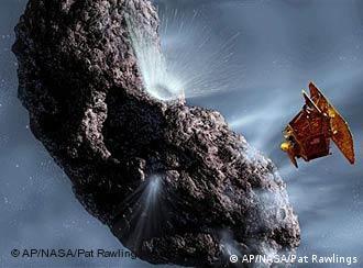 So beschießt Deep Impact in einer Computerillustration den Kometen