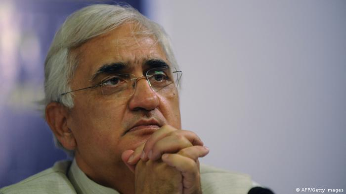 Indian Union Minister for Law and Justice, Salman Khurshid gestures during an interaction with Gujarat media representatives at the Ahmedabad Management Association (AMA) in Ahmedabad on June 13, 2012. In a first of its kind initiative, the Group of Union Ministers addressed a press conference in Ahmedabad covering various issues. AFP PHOTO / Sam PANTHAKY (Photo credit should read SAM PANTHAKY/AFP/GettyImages)