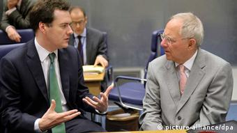 George Osborne chats with German Finance Minister Wolfgang Schaeuble
