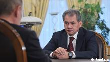 Former Governor of Moscow Region and newly appointed Defence Minister Sergei Shoigu meets with Russian President Vladimir Putin at the Novo-Ogaryovo state residence outside Moscow November 6, 2012. Putin dismissed Defence Minister Anatoly Serdyukov on Tuesday after the ministry was drawn in to an investigation into allegations of fraudulent sales of military assets. Putin was shown on television informing Shoigu, a former emergencies minister, that he wanted him to replace Serdyukov. REUTERS/Aleksey Nikolskyi/RIA Novosti/Pool (RUSSIA - Tags: POLITICS MILITARY PROFILE) THIS IMAGE HAS BEEN SUPPLIED BY A THIRD PARTY. IT IS DISTRIBUTED, EXACTLY AS RECEIVED BY REUTERS, AS A SERVICE TO CLIENTS
