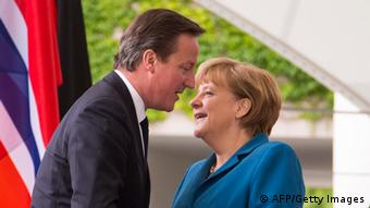 German Chancellor Angela Merkel greets British Prime Minister David Cameron on (Photo: AFP PHOTO / CARSTEN KOALL/AFP/GettyImages)