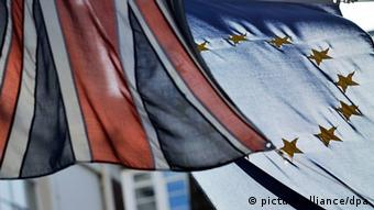 The British and EU flags hanging outside the Europe House in London Copyright: EPA/ANDY RAIN/dpa