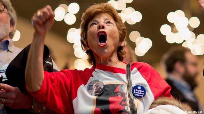 Сторонник демократов во время президентских выборов в США в 2012 году