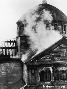 The Fasanenstrasse Synagogue in Berlin after it was set on fire by a Nazi mob during the 'Kristallnacht' riots, 9th-11th November 1938. (Photo by Hulton Archive/Getty Images)