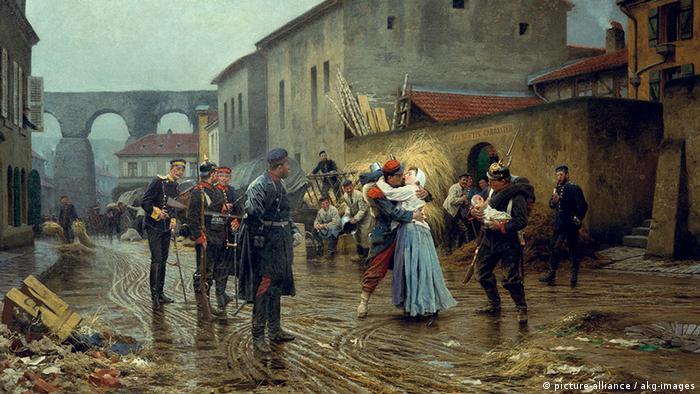 Cuadro del pintor alemán Anton von Werner muestra a un soldado de infantería francés despidiéndose de su esposa. Su hijo yace en los brazos de un mosquetero alemán.
