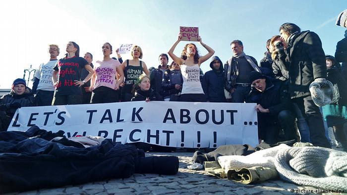 Protesto pelo direito ao asilo em 2012, em Berlim
