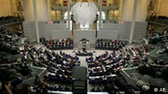 A wide angle view of the inside of the German Parliament building in Berlin.