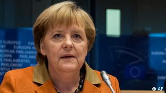 Bundeskanzlerin Angela Merkel vor dem EU-Parlament in Brüssel
