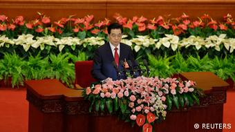 Chinese President Hu Jintao delivers a speech during the opening ceremony of 18th National Congress of the Communist Party of China at the Great Hall of the People in Beijing, November 8, 2012. China's outgoing President Hu said the nation faced risk and opportunity in equal measure as he formally opened a congress of the ruling Communist Party that will usher in a once-in-a-decade leadership change. REUTERS/Jason Lee (CHINA - Tags: POLITICS)