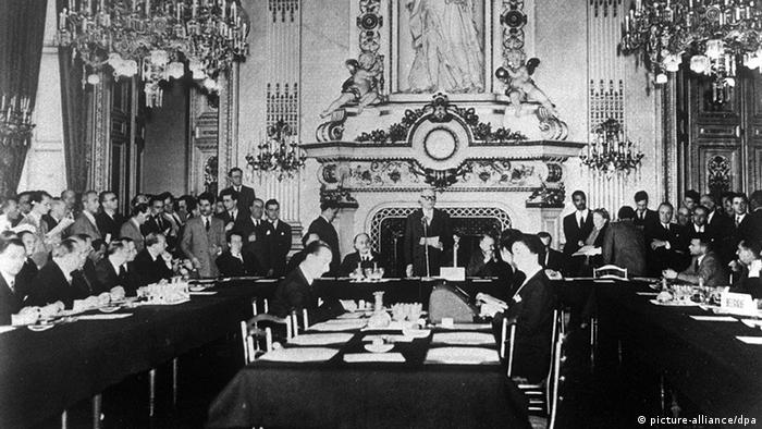 French Foreign Minister Robert Schuman gives a speech at the Foreign Ministry in Paris.