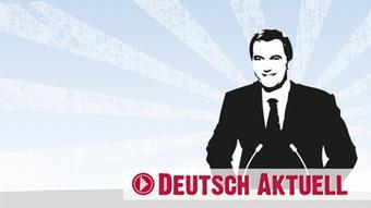 Logo Deutsch Aktuell: ein stilisierter Nachrichtensprecher auf der rechten Seite vor blau-weißem Hintergrund