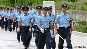 Japanese police arrive to the Nagai stadium to provide security as preparations go ahead, 23 August 2007, for the 11th IAAF World Championships in Athletics, Osaka, Japan, that will kick off on Saturday 25 August 2007.