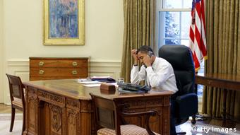 PresidentBarack Obama on the phone in the Oval Office (Photo by Pete Souza/White House via Getty Images)