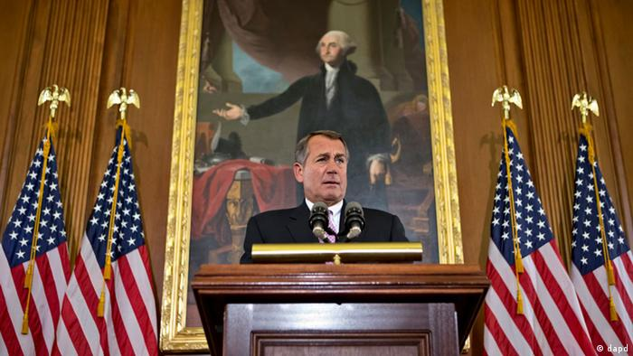 In this Nov. 7, 2012, photo House Speaker John Boehner, R-Ohio, talks about the elections and the unfinished business of Congress at the Capitol in Washington. (Foto:J. Scott Applewhite/AP/dapd)