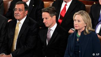CIA director Leon Panetta, Finanzminister Tim Geithner and Aussenministerin Hillary Rodham Clinton (AP Photo/J. Scott Applewhite)