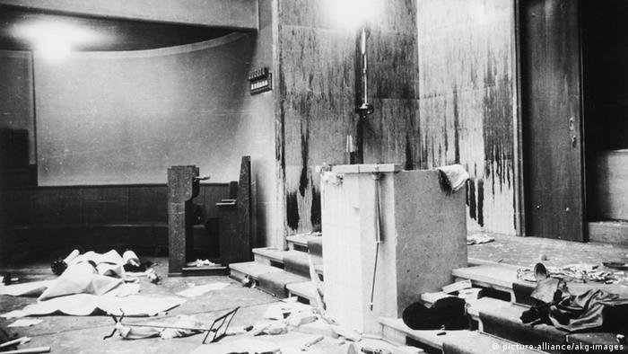Sinagoga de Munique, destruída na noite entre 9 e 10 de novembro de 1938