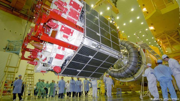 Спутник ГЛОНАСС с ракетоносителем на космодроме Байконур