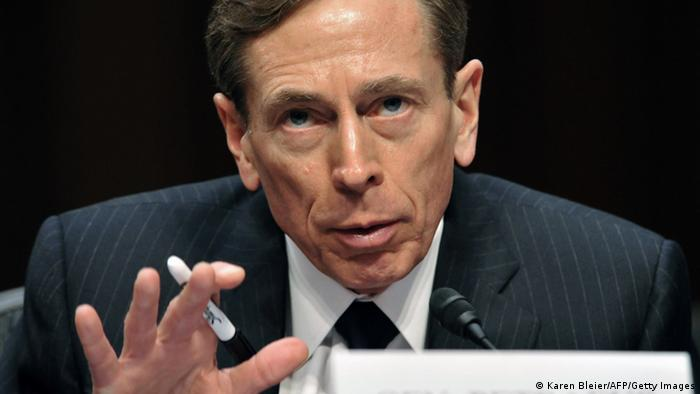CIA Director David Petraeus, testifies before the US Senate Intelligence Committee during a full committee hearing on 'World Wide Threats.' on January 31, 2012 on Capitol Hill in Washington, DC. Witnesses include: Director of National Intelligence, James Clapper, FBI Director Robert Mueller(L); Defense Intelligence Agency Director Lt. Gen. Ronald Burgess; National Counter terrorism Center Director Matthew Olsen; Assistant Secretary of State for Intelligence and Research Philip Goldberg; and Homeland Security Undersecretary for Intelligence and Analysis Caryn Wagner. AFP PHOTO/Karen BLEIER (Photo credit should read KAREN BLEIER/AFP/Getty Images)