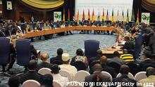 General picture of an ECOWAS Summit gathering west African leaders to plot a military strategy to wrest control of northern Mali from Islamist groups as fears grow over the risks they pose to the region and beyond, on November 11, 2012 in Abuja. West African plans could see the mobilisation of some 5,500 soldiers, essentially but not totally drawn from the region. Between 200 and 400 European soldiers will train troops in Mali, according to the operational plan. AFP PHOTO / PIUS UTOMI EKPEI (Photo credit should read PIUS UTOMI EKPEI/AFP/Getty Images)