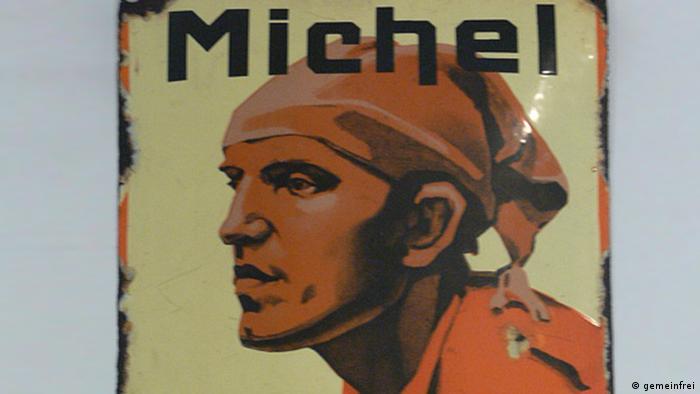 """Emailleschild mit Werbung der Brikett-Marke Michel"""" (Foto: gemeinfrei)"""