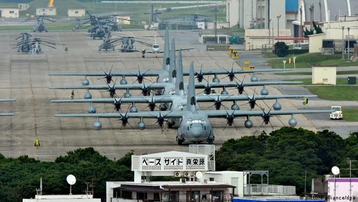 A pictured made available on 28 May 2008 shows U.S. Marine Corps Futenma Air Station is seen in Ginowan on Japan's southwestern island of Okinawa on 03 May 2010. Japan and the United States reached a new accord on 28 May 2010 on the relocation of a key U.S. Marine base in Okinawa that basically endorsed an existing 2006 pact to move the facility within the prefecture, ending a bilateral row but putting the coalition government of Prime Minister Yukio Hatoyama in danger of collapsing. EPA/KIMIMASA MAYAMA