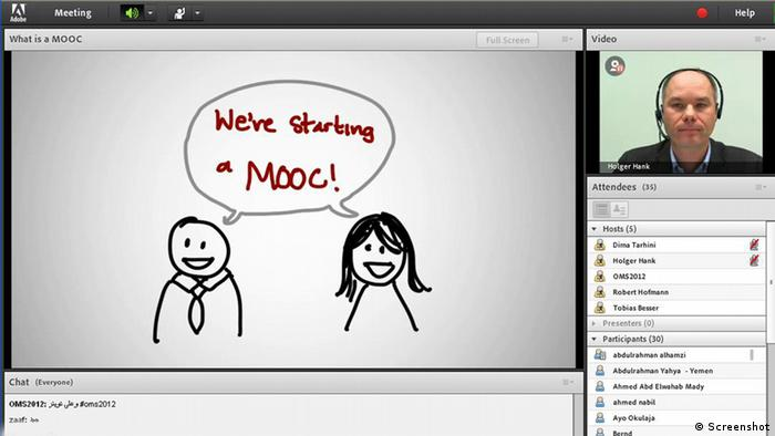 Screenshot of two drawn stick figures with a bubble saying, We're starting a MOOC Photo: Screenshot