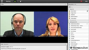 Screenshots Open Media Summit (OMS) 8.11.2012: first online course of DW Akademie, live-Session with Holger Hank (DW Akademie) and Dima Tarhini (DW TV) (photo: DW).