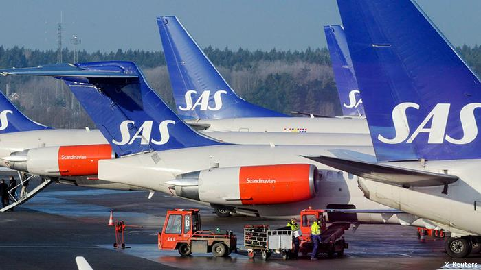 Scandinavian airline SAS aircraft parked at Arlanda Airport north of Stockholm, Sweden