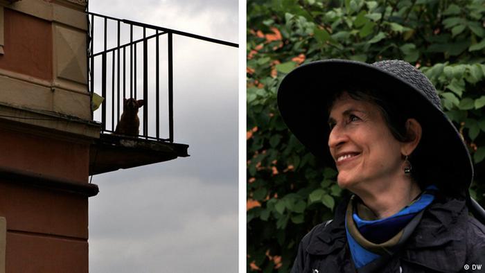 Bildmontage: Irene Silberblatt schaut auf einen Balkon in Czernowitz (Fotos: DW/Birgit Görtz)