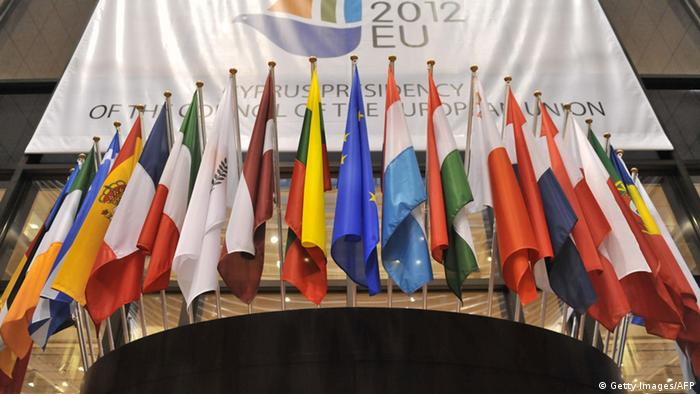 European flags are displayed on November 13, 2012 at the EU Headquarters in Brussels prior to the start of a meeting of European Union finance ministers to discuss ways to bolster the EU's flagging economy after reviewing Greece's debt bailout programme. AFP PHOTO GEORGES GOBET (Photo credit should read GEORGES GOBET/AFP/Getty Images)