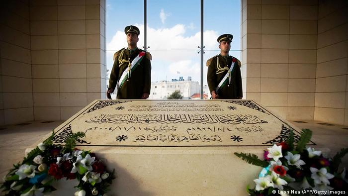 Honour guards stand at the mausoleum of former Palestinian leader Yasser Arafat in the West Bank city of Ramallah on January 29, 2009. AFP PHOTO/LEON NEAL (Photo credit should read Leon Neal/AFP/Getty Images)