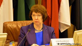 EU Foreign policy chief Catherine Ashton, attends the ministerial meeting of Arab League and European Union at the Arab League headquarters in Cairo, on November 13, 2012. Ashton, who addressed the opening session at the League, welcomed the Doha agreement but warned of a spillover of the conflict which has killed more than 37,000 since March 2011, according to the Syrian Observatory for Human Rights. AFP PHOTO / KHALED DESOUKI (Photo credit should read KHALED DESOUKI/AFP/Getty Images)