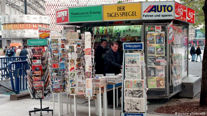 Newspapers and magazines for sale on Alexanderplatz in Berlin
