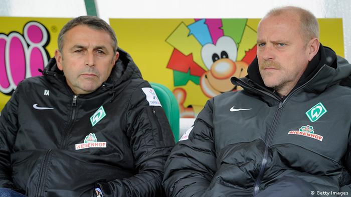 Klaus Allofs (l.) und Thomas Schaaf auf der Bremer Trainerbank (Foto: Getty Images)