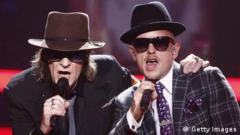 Udo Lindenberg and Jan Delay perform at the Echo Awards 2012 (Photo by Andreas Rentz/Getty Images)