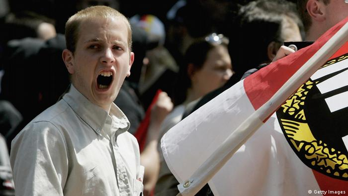 GELSENKIRCHEN, GERMANY - JUNE 10: Neo-Nazis demonstrate June 10, 2006 in Gelsenkirchen, Germany. About 200 right-wing National Democratic Party (NPD) members demonstrated in the World Cup host city Gelsenkirchen. (Photo by Ralph Orlowski/Getty Images)