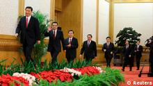 China's new Politburo Standing Committee members (from L to R) Xi Jinping, Li Keqiang, Zhang Dejiang, Yu Zhengsheng, Liu Yunshan, Wang Qishan and Zhang Gaoli arrive to meet the press at the Great Hall of the People in Beijing, in this November 15, 2012 photo released by Chinese official Xinhua News Agency. REUTERS/Xinhua/Ding Lin (CHINA - Tags: POLITICS) NO SALES. NO ARCHIVES. FOR EDITORIAL USE ONLY. NOT FOR SALE FOR MARKETING OR ADVERTISING CAMPAIGNS. THIS IMAGE HAS BEEN SUPPLIED BY A THIRD PARTY. IT IS DISTRIBUTED, EXACTLY AS RECEIVED BY REUTERS, AS A SERVICE TO CLIENTS. CHINA OUT. NO COMMERCIAL OR EDITORIAL SALES IN CHINA. YES