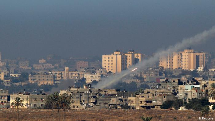 A rocket is seen after its launch from the northern Gaza Strip towards Israel November 15, 2012. REUTERS/Ronen Zvulun (