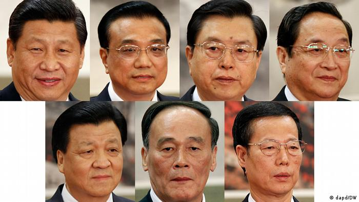 This combination of file photos from Thursday, Nov. 15, 2012, shows new members of China's Politburo Standing Committee, from left to right, Communist Party General Secretary Xi Jinping, Vice Premier Li Keqiang, Vice Premier Zhang Dejiang, Shanghai party secretary Yu Zhengsheng, propaganda chief Liu Yunshan, Vice Premier Wang Qishan, and Tianjin party secretary Zhang Gaoli, at a press event held at Beijing's Great Hall of the People. (Foto:Vincent Yu, Files/AP/dapd)