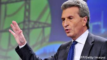 EU Energy Commissioner Guenther Oettinger at a press conference