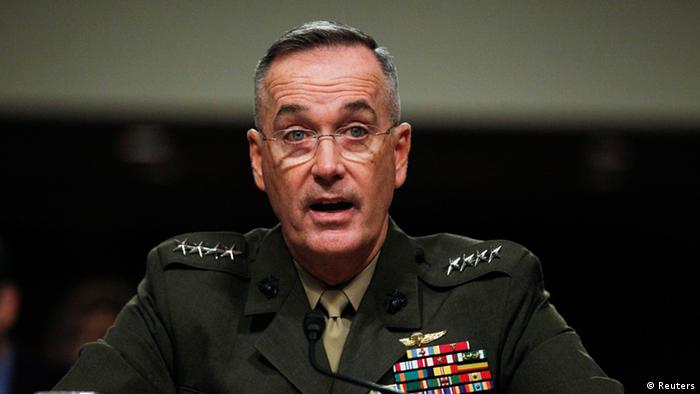 Marine Corps General Joseph Dunford is pictured at a Senate Armed Services Committee hearing in Washington, November 15, 2012. Dunford has been nominated to be the commander of the International Security Assistance Force (ISAF) in Afghanistan and commander of the U.S. forces in Afghanistan. REUTERS/Jason Reed (UNITED STATES - Tags: POLITICS MILITARY TPX IMAGES OF THE DAY)