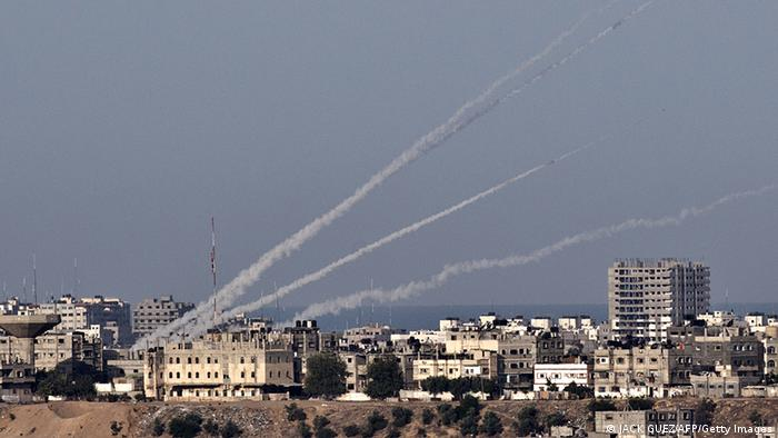 A picture taken from the southern Israeli town of Sderot shows four rockets being launched from the Gaza Strip into Israel on November 16, 2012. Israeli warplanes carried out multiple new air strikes on the Palestinian territory, including several hits on Gaza City, the third day of an intensive campaign which the military has said is aimed at stamping out rocket fire on southern Israel. AFP PHOTO / JACK GUEZ (Photo credit should read JACK GUEZ/AFP/Getty Images)