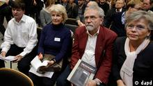 Former DDR prisoners attend a joint news conference of the victims' group UOKG and IKEA in Berlin, Germany, Friday, Nov. 16, 2012. Swedish furniture giant Ikea expressed regret Friday Nov. 16, 2012 that it benefited from the use of forced prison labor by some of its suppliers in communist East Germany more than two decades ago. (Foto:Michael Sohn/AP/dapd)